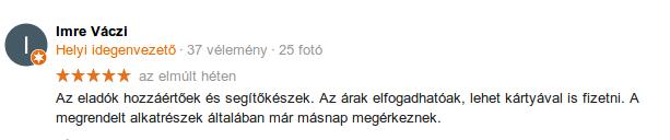 Váczi Imre Avasi Autósbolt értékelés