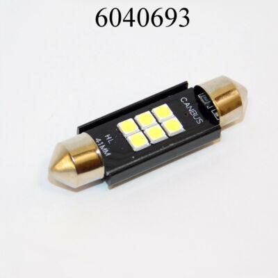 Izzó LED 12V szofita fehér 6SMD db-os 41mm extra erős fekete Canbus lédig 3W 9-24V 6x3030