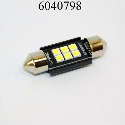 Izzó LED 12V szofita fehér 6SMD db-os 36mm extra erős fekete Canbus lédig 3W 9-24V 6x3030