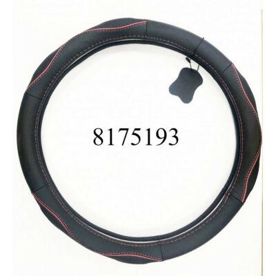 Volánvédő bőr 38cm fekete piros  varrással KV-5057A/BR
